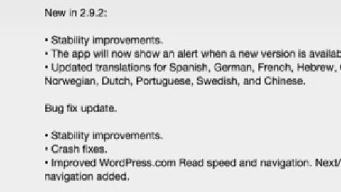 WordPress 2.9.2 para iOS